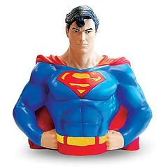 Superman Bust Bank - He's the Man of Steel, not the Man of Steal.  He's the one hero who never lies.  Oh and the fact that he can also punch thieves into outer space would also look good on his money-guarding resume.