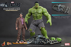 Avengers Movie Hulk & Bruce Banner 12′′ Figure Set - This Hulk and Bruce Banner 12 inch figure set from Hot Toys is a truly spectacular collectable.The 1/6th scale Bruce Banner Collectible Figure specially features: Authentic and detailed fully realized likeness of Mark Ruffalo as Bruce Banner in The Avengers Movie-accurate facial expression with detailed wrinkles and skin texture Body with over 30 points of articulations Approximately 30 cm tall Eight (8) pieces of interchangeable palms including: One pair of fists One pair of relaxed palms One pair of open...
