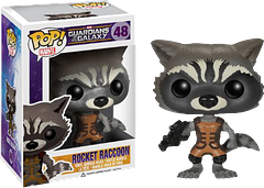 Rocket Raccoon Guardians of the Galaxy Pop! Vinyl Figure - Protecting the universe one felony at a time; it's Rocket at almost life size, as a cute but dangerous Pop! Vinyl figure from Funko. Watch out; he bites.
