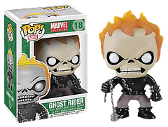 Ghost Rider Pop! Vinyl Figure - The Spirit of Vengeance himself, Ghost Rider, haunts the darker side of the world, punishing those who harm the innocent. If you're not evil you don't need to fear his penance stare, but do watch out for his head flames, because, hellfire burns are kind of ouchie!