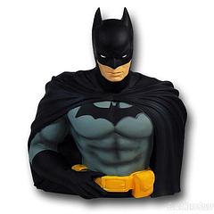 Batman Bust Bank - Who better to keep your funds safe than the man who has made it his mission to protect an entire city?  Standing at approximately 20cm tall, this moulded plastic Batman Bust Bank looks determined to save the day, and your money.