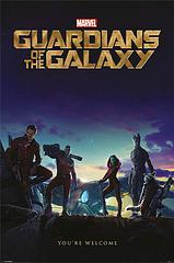 Guardians of the Galaxy Movie Poster - They don't have to just guard the galaxy.  This lovable team of reformed criminals and thugs can be on guard where ever you like…your bedroom, the loungeroom, the office…anywhere you have some spare wall space, in fact.  Star-Lord, Gamora, Rocket, Groot, and Drax join forces in this classic Guardians of the Galaxy movie poster as they defend the world from imminent destruction (or perhaps just defend you from nightmares while you sleep). You're welcome.