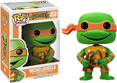 "TMNT Michelangelo Pop! Vinyl Figure - The ""Party Dude"", Michelangelo, still knows how to have a good time, even when he's only 3.75 inches tall. This Teenage Mutant Ninja Turtles Pop! Vinyl figure is wielding his nunchakus and stands ready for a good fight.  He'll probably follow this up with scoffing down some pizza."