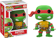 "TMNT Raphael Pop! Vinyl Figure - The Teenage Mutant Ninja Turtle Raphael Pop! Vinyl Figure may be cool, and he may be crude, but he means business when it comes to using those sai.  Standing at 3.75 inches tall, this hero in a half shell portrays a ""don't mess with me"" attitude which means he's either about to fight the bad guys, or he's arguing with Leonardo again."