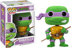 TMNT Donatello Pop! Vinyl Figure - This Teenage Mutant Ninja Turtle isn't just good with a bo staff (although he's certainly able to kick some serious Foot Clan butt when required).  In a high-tech age, you need some high-tech know-how…and Donatello brings it – proving he's got the brains and the brawn.  The 3.75 inch TMNT Donatello Pop! Vinyl Figure also has the brains and the brawn..only in miniature.