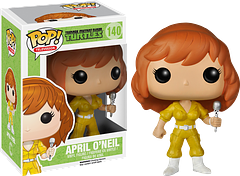 TMNT April Pop! Vinyl Figure - April O'Neil is living (or animated) proof that you can't keep a good reporter (or, at least, a nosey one) down.  With her microphone in hand, this Teenage Mutant Ninja Turtle April Pop! Vinyl Figure is going to get her story, even if it kills her. And if it did kill her, she'd probably return as zombie-April to read her story on Channel 6.  She's that determined.