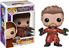 """Star-Lord Unmasked Pop! Vinyl Figure - He's one of the most humble super-heroes you'll ever…ah no, sorry. I was confusing him for someone else.  He's awesome and he knows it.  In his iconic red leather jacket, this Guardians of the Galaxy Star-Lord Unmasked Pop! Vinyl Figure has his mask is off and he's ready to save the universe…or the galaxy, or something. Whatever it is, I'm sure he'll do it with style…and to the sound of his """"Awesome Mix Vol.1"""" mixtape."""