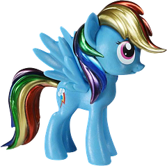 My Little Pony Rainbow Dash Metallic Vinyl Figure - If you thought Rainbow Dash was beautiful before, just look at her now!  With vibrant metallic colours on her mane and tail, this cute little vinyl Pegasus pony is ready and raring for her next adventure.