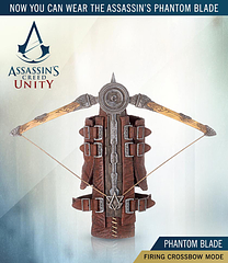 Assassin\'s Creed Unity Phantom Blade and Crossbow - McFarlane Toys have truly hit the mark with this incredibly detailed and multifunctional Assassin's Creed Unity Hidden Blade and Crossbow, otherwise known as the Phantom Blade. It's probably the best gaming replica prop we have seen to date.Everything from the wristbands to the intricately detailed carvings on the crossbow are incredibly realistic and impressive. But the best thing about this particular hidden blade is what it can do.The hidden blade is made of firm materials this time around and shoots...