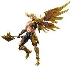 Hawkman Variants Figure: Play Arts Kai - Play Arts has done it again with this incredible Hawkman addition to their Variants series. This fully articulated figure stands at approximately 10 inches tall. Complete with stand, and interchangeable hands to accommodate for his Axe, Kukri and of course his favoured Mace, this fine Play Arts Hawkman figure is sure to please discerning collectors.