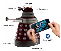"Dr.Who Smartphone Operated Dalek - The tenth doctor said that Dalek's were, ""not just metal, that they are alive,"" and now you can bring these cyborgs to life with the control of your smartphone. It's as simple as a Bluetooth connection. This item can be used on any iPhone or Android device to cause as much havoc as you desire."