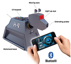 Doctor Who Smartphone Operated K-9 - With a quick and easy Bluetooth connection this Smartphone operated K-9 is compatible with all iPhone and Android devices. Complete with a striped Collar, light up eyes, moving ears and so much more. Call him over.