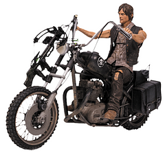 Daryl Dixon With Chopper Bike Set - Daryl Dixon is one of the main characters of the hit show, The Walking Dead and has proven to be a favourite. This articulated figure comes complete with Daryl's crossbow and his chopper.McFarlane toys have really delivered, with their incredible attention to detail not only on Daryl himself but also on his angel wings vest and the skull insignia on the bike itself.