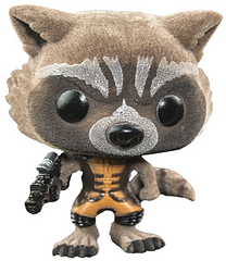 Rocket Raccoon Flocked Pop! Vinyl Figure - This 3.75 inch Rocket Raccoon is the flocked variant of the standard Rocket Pop! Vinyl Figure. It is textured to appear and feel furry, somewhat like the Galaxy's favourite Raccoon actually is.