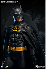 Batman 1989 Premium Format Statue - From Tim Burton's 1989 Batman Film comes this wonderful 1:4 scale Micheal Keaton, Batman Premium Format, that perfectly captures the essence of the worlds favourite vigilante. Batman is dressed in his iconic screen-accurate costume with the bat symbol, utility belt and fabric cape standing upon a burtonesque staircase with his interchangeable grapple gun in hand. This statue stands at 26.5