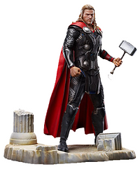 Thor Model Kit Vignette - Everyone's favourite Norse God is back, armed with his trusty  Mjölnir as a 1:9 scale model figure. This figure is amazingly detailed, depicting Thor standing upon ancient European ruins from the movie. Dragon gives you easy way out for a model kit, all the part come pre-painted, all you have to do is pop them into place.