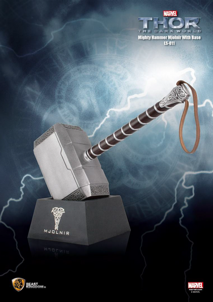Thor Hammer: Thor 2: The Dark World Mighty Mjolnir With Base Signed by Stan Lee and Chris Hemsworth